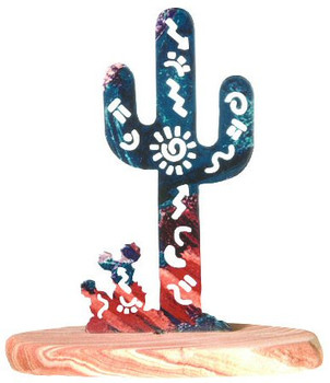 Story Cactus Large Metal Rock Art