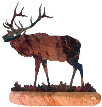 Elk Scene Large Metal Rock Art