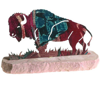Buffalo Extra Large Metal Rock Art