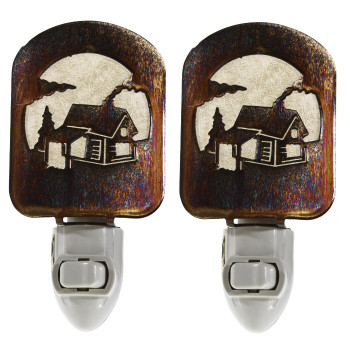 Log Cabin Scene Metal Night Lights, Set of 2