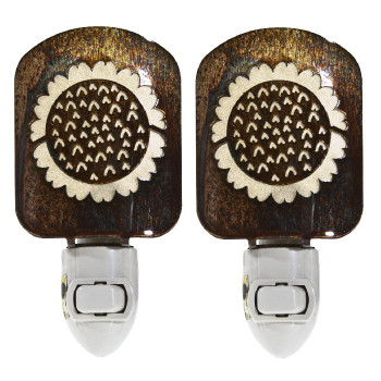 Sunflower Metal Night Lights, Set of 2