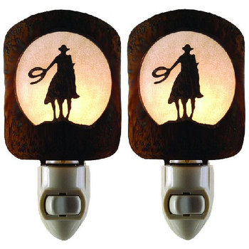 Lone Rider Cowboy Metal Night Lights, Set of 2