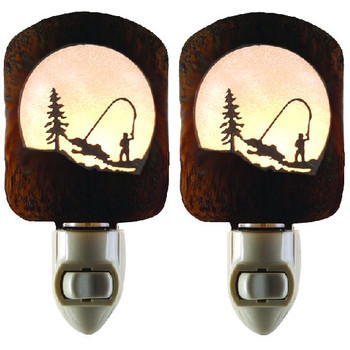 Fly Fishing Scene Metal Night Lights, Set of 2