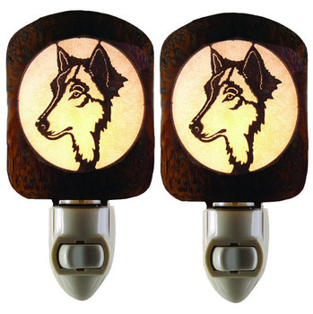 Wolf Night Watch Metal Night Lights, Set of 2