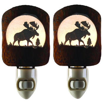Moose Scene Metal Night Lights, Set of 2