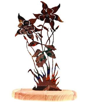 Columbine Flower Extra Large Metal Rock Art