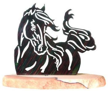 Windy Horse Large Metal Rock Art