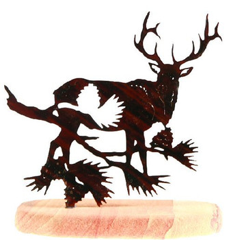 Elk with Pine Cone Branch Large Metal Rock Art