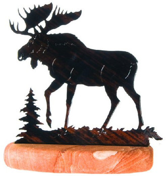 Moose Scene Large Metal Rock Art
