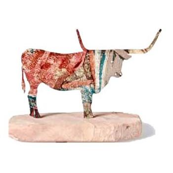 Standing Longhorn Bull Large Metal Rock Art