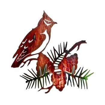 "19"" Cedar Waxwing Bird and Pine Cone Metal Wall Art"