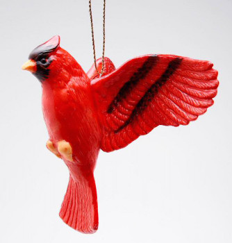 Cardinal Bird Christmas Tree Ornaments, Set of 4