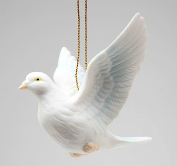 White Dove Bird Christmas Tree Ornaments, Set of 4