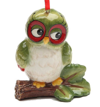 Christmas Owl on a Branch Tree Ornaments by Laurie Furnell, Set of 4
