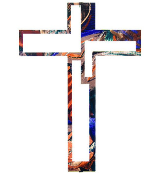 "15"" Modern Cross Metal Wall Art by Joel Sullivan"