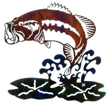 "22"" Jumping Bass Fish Metal Wall Art by Daniel Kirchner"