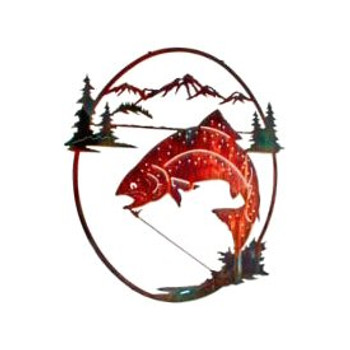 "26"" High Lake Rainbow Trout Fish Metal Wall Art"