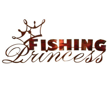 "23"" Fishing Princess Metal Wall Art Honey Pinion Finish"