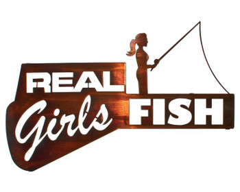 "22"" Real Girls Fish Metal Wall Art Honey Pinion Finish"