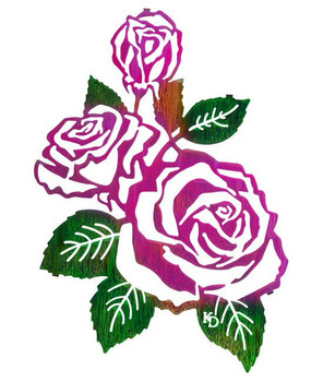 "18"" Roses Metal Wall Art by Kathryn Darling"