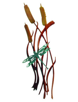 "20"" 3D Dragonfly and Cattails Metal Wall Art by Neil Rose"