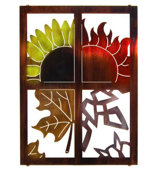 "20"" Seasons Window Pane Metal Wall Art"