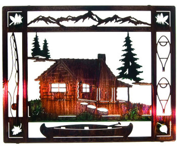 "20"" At the Cabin Framed Color Wash Metal Wall Art"
