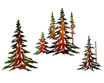 "14"" 16"" & 18"" Pine Trees Metal Wall Art by Neil Rose, Set of 3"
