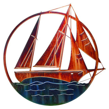 "20"" Sailboat Metal Wall Art"