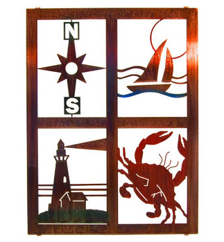 "20"" Nautical Window Pane Metal Wall Art"