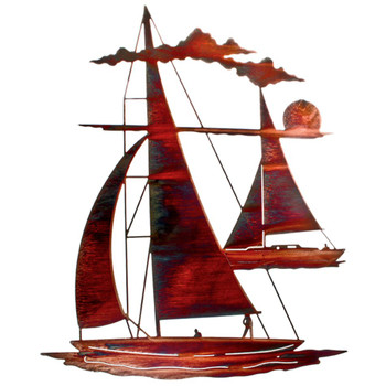"24"" Catch 'n Sail Floating Sailboat Metal Wall Art"