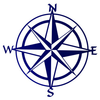 "20"" Blue Compass Rose Metal Wall Art"