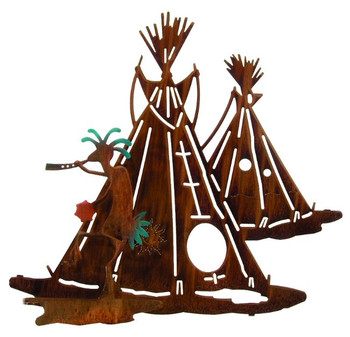 "20"" 3D Sun Dance with Teepee Metal Wall Art by Neil Rose"