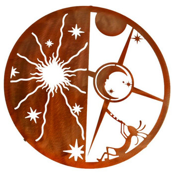 "18"" Kokopelli Sun Moon Metal Wall Art by Kevin Fletcher"