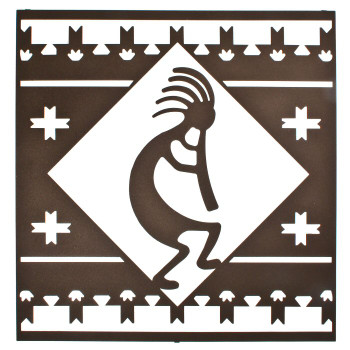 "24"" Kokopelli Lodge Square Metal Wall Art Espresso Finish"