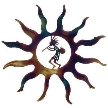 """16"""" Kokopelli with Pot Sun Metal Wall Art by Robert Shields"""