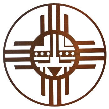 "24"" Native Sun Metal Wall Art by Bindrune Design Sparkle Copper Finish"
