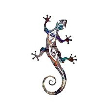 "12"" Tribal Gecko Lizard Metal Wall Art"