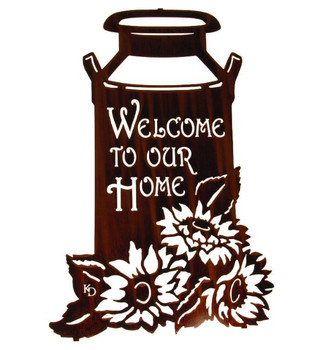 "22"" Milk Can with Sunflowers Metal Welcome Sign by Kathryn Darling"