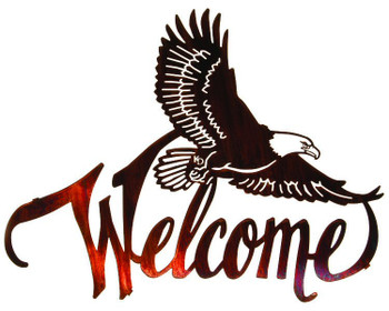 "20"" Winged Eagle Bird Metal Welcome Sign by Kathryn Darling"