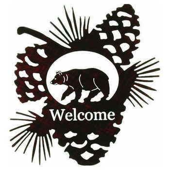 Bear in Pine Cone Metal Welcome Sign