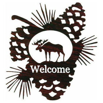 Moose in Pine Cone Metal Welcome Sign