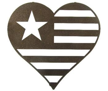 "16"" Heartland Single Star Heart Metal Wall Art by Bindrune Design"