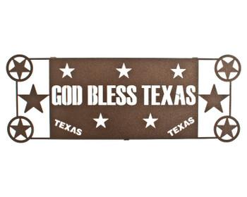 """17"""" God Bless Texas Metal Wall Art by Joel Sullivan Espresso Finish"""