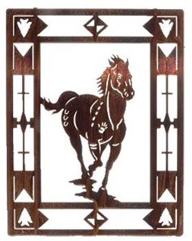 "20"" Escape Horse Framed Metal Wall Art"