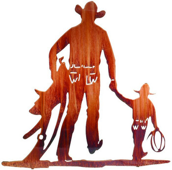"""24"""" Partners Cowboy and Kid Metal Wall Art by Ron Moore"""