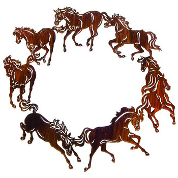 "20"" Circle of Horses Metal Wall Art by Kathryn Darling"