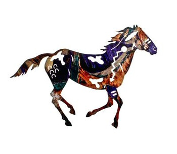 "20"" Running Painted Pinto Horse Metal Wall Art"