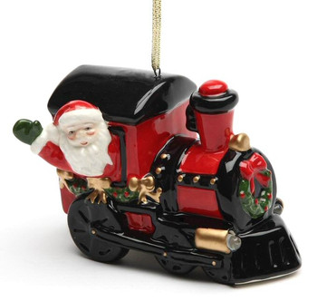 Santa on a Train LED Musical Christmas Tree Ornaments, Set of 2