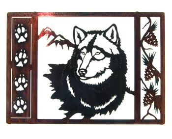 "21"" Wolf Tracks Framed Metal Wall Art"
